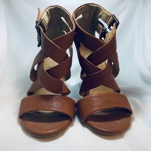 Nine West Brown Leather Maureen Wedges- size 5.5